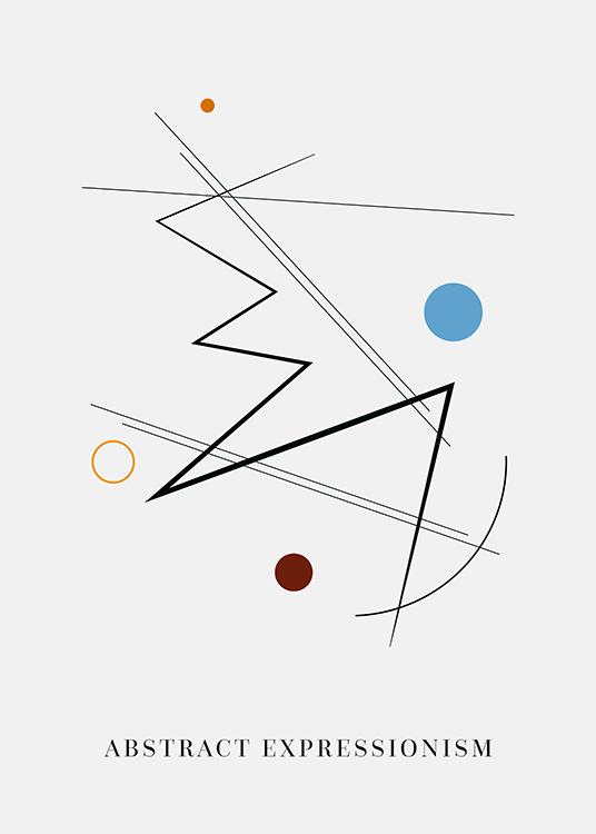 – Graphic illustration with black lines and circles in blue and brown on a light grey background
