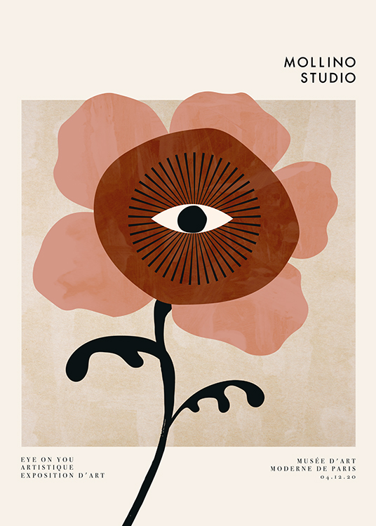 – Graphic illustration of a flower in brown and pink with an eye in the centre against a beige background
