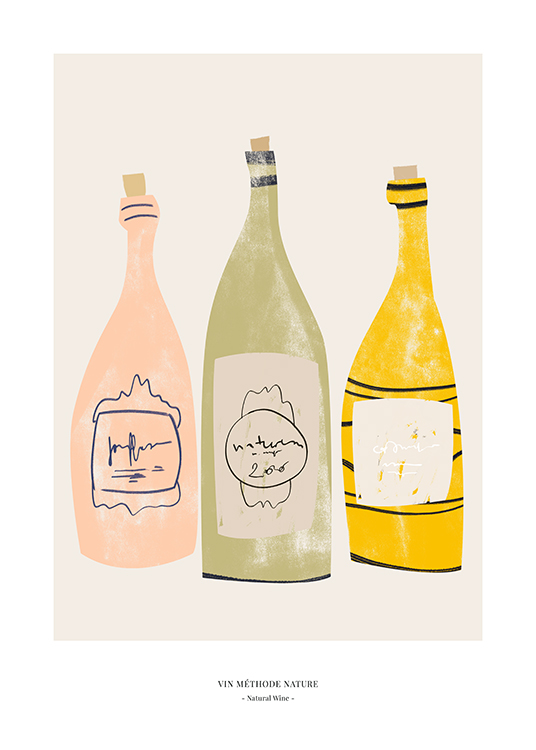 – Graphic illustration of pink, green and yellow wine bottles on a beige background and text at the bottom