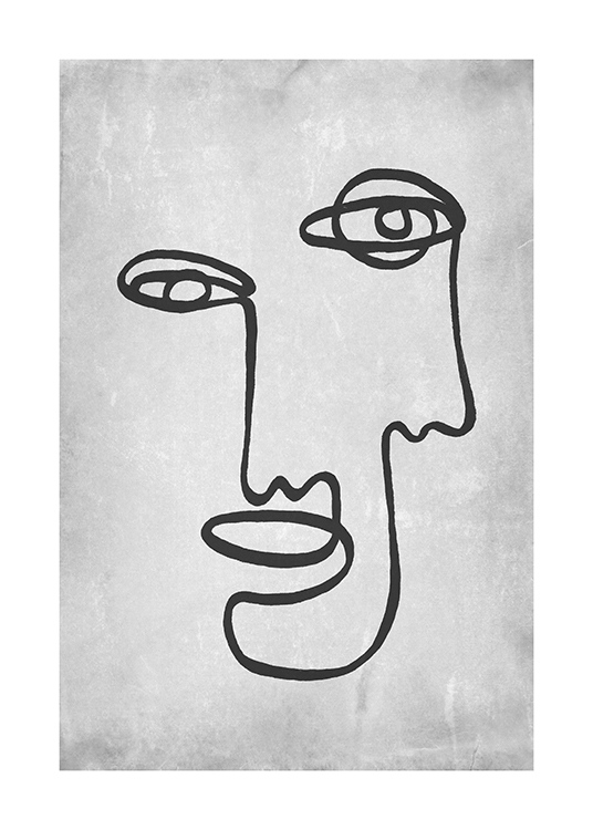 – Illustration of an abstract face in dark grey line art, on a light grey concrete background