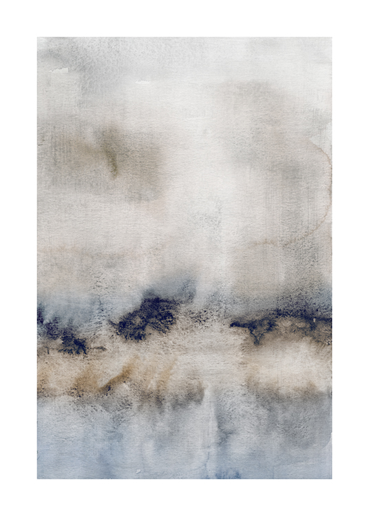 – Painting in watercolor with an abstract design in blue, beige and grey