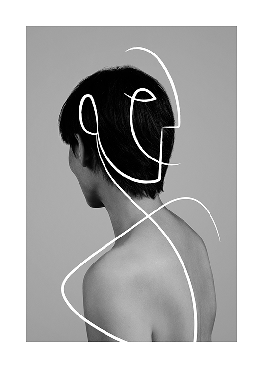 – Black and white photograph of a human from behind, with a white line art illustration on top