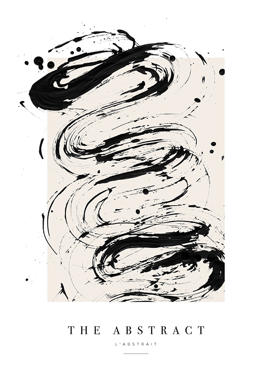 – Painting with abstract paint splatter in black on a beige background and text underneath