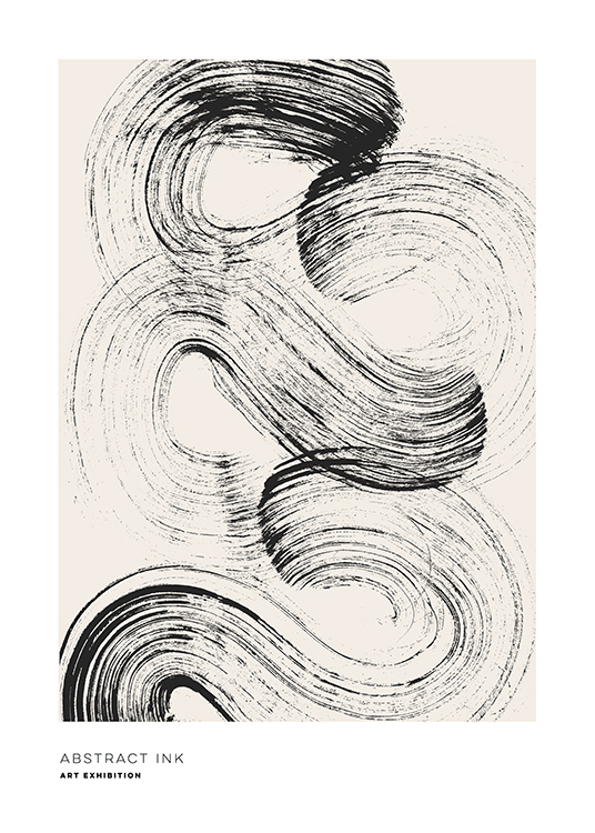 – Painting with a brush stroke in black, swirled across a beige background with text underneath