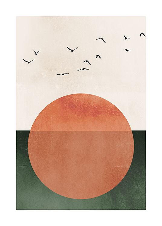 – Graphic illustration of a large, orange sun with birds above it, against a background in beige and green