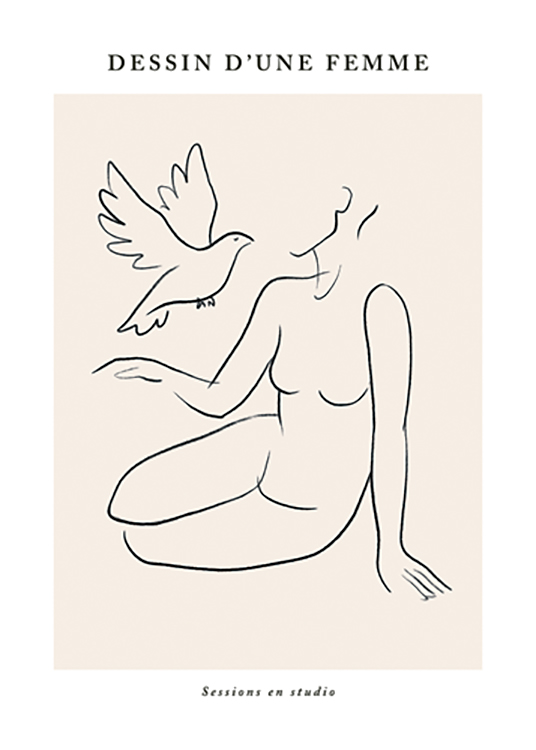 – Illustration in line art of a woman sitting down and a dove, with text above and underneath