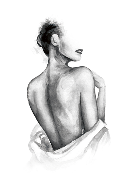 – Painting in watercolor of a naked woman's back with a shirt wrapped around her waist