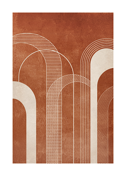 – Graphic illustration with light beige arches with lines, on a patchy, terracotta background