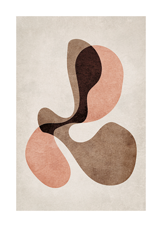 – Graphic illustration with a bundle of brown, red and pink abstract shapes against a beige background