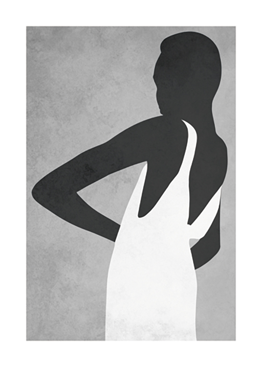 – Graphic illustration with a woman wearing a white dress against a grey background