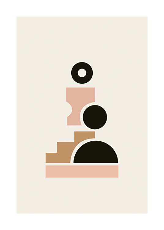 – Graphic illustration of geometric shapes in black, brown and pink forming a figure on a light beige background