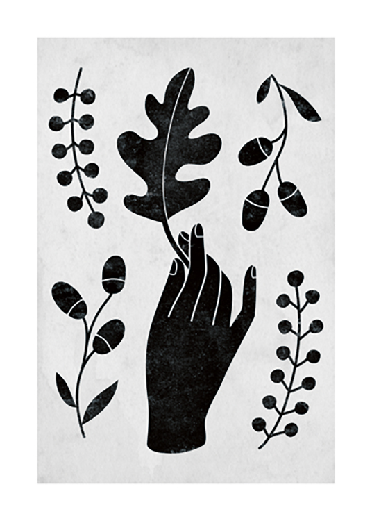 – Graphic illustration of a hand, leaf and berries in black on a grey background