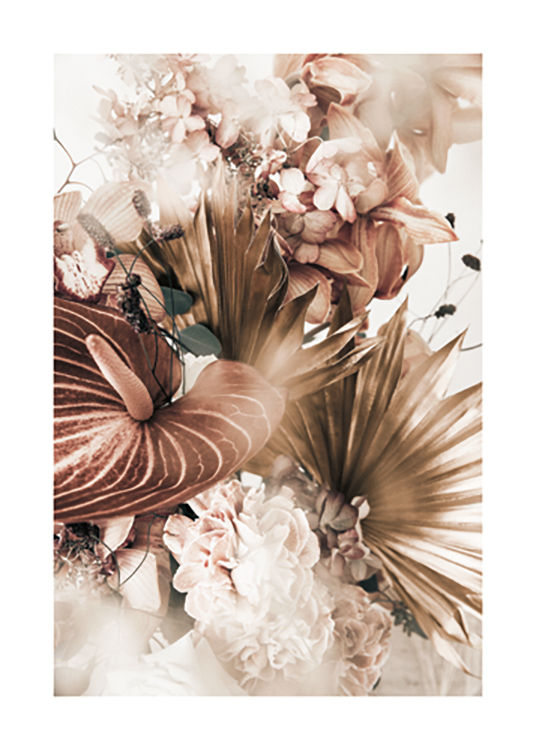 – Photograph with close up of a bouquet of flowers in white, pink and brown