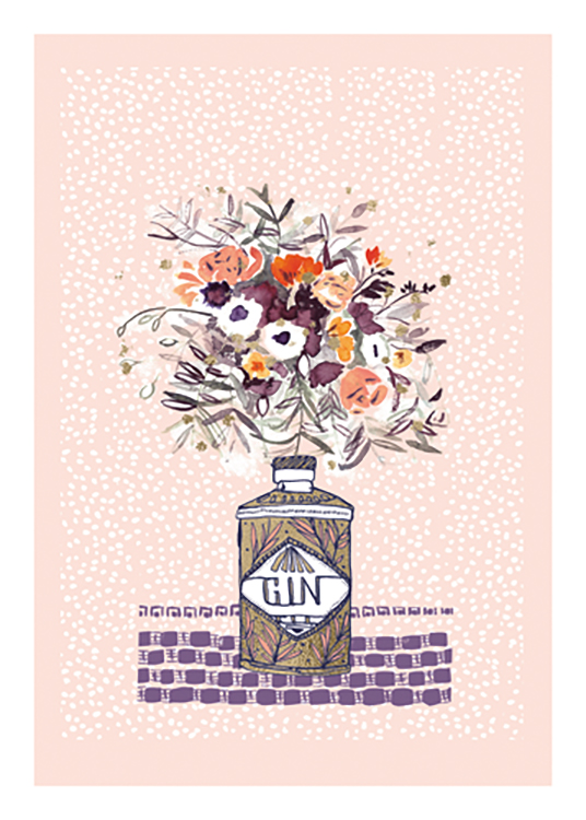 – Illustration of a flower bouquet in a gin bottle, on a pink background with white spots