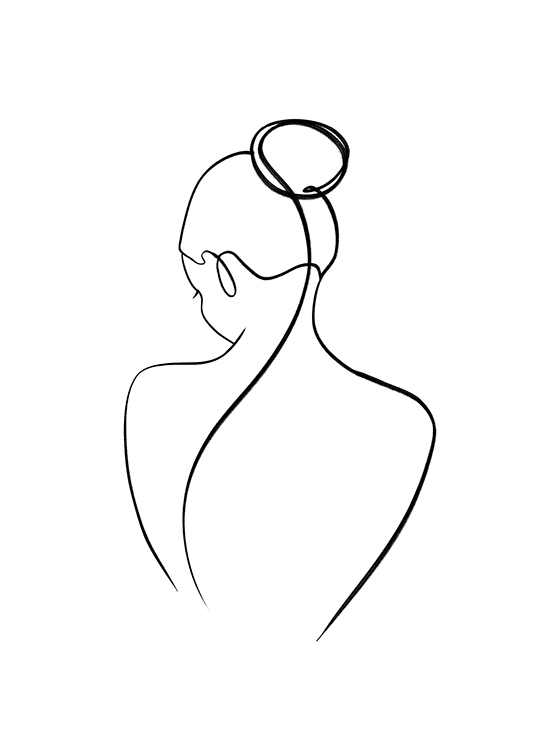 – Illustration of a woman's back in black line art on a white background