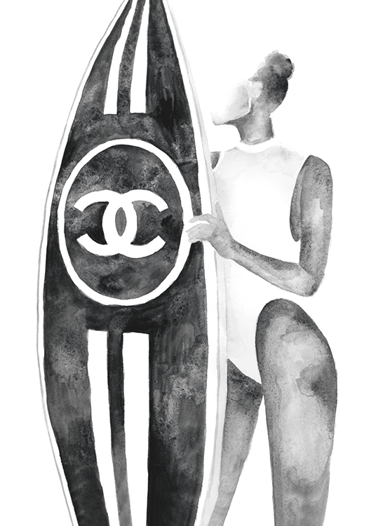 – Grey illustration of a woman holding a surfboard with a Chanel logo