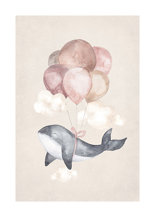 – Painting in watercolor of a small whale with balloons in pink and beige tied to it, against a beige background