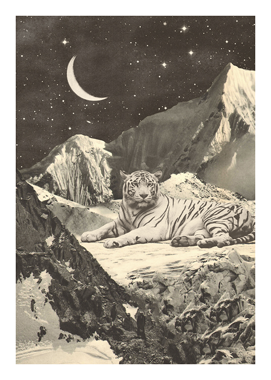 – Grayscale illustration of a giant white tiger surrounded by mountains