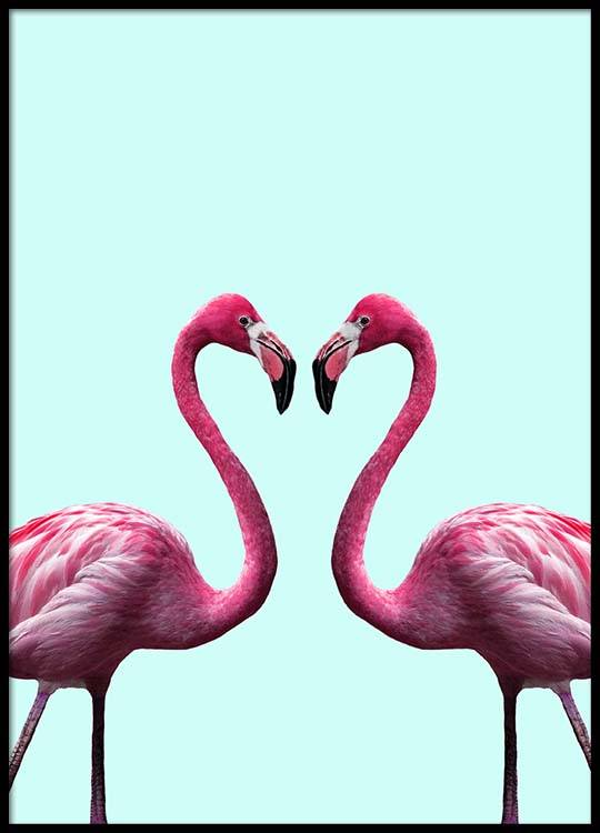 Flamingo Heart Poster