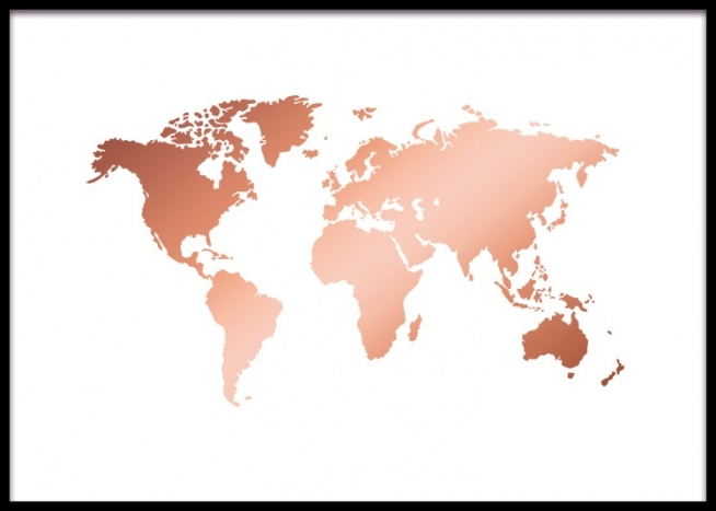 World Map Copper Poster