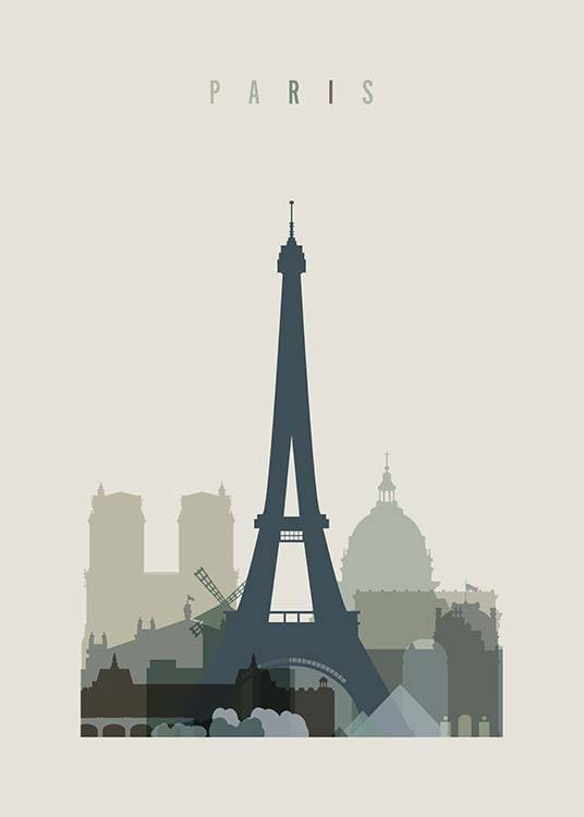Paris Skyline Poster / Maps & cities at Desenio AB (2355)