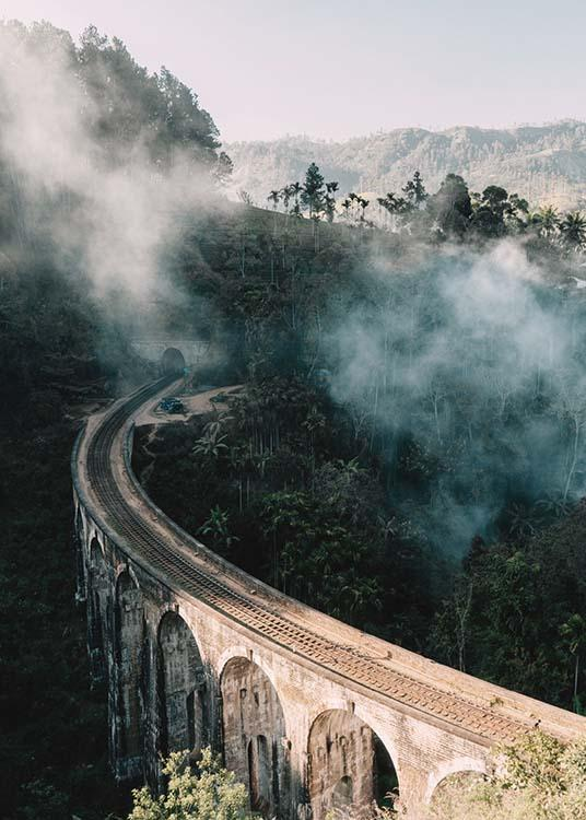 – Photograph of a bridge going through a landscape with trees and fog