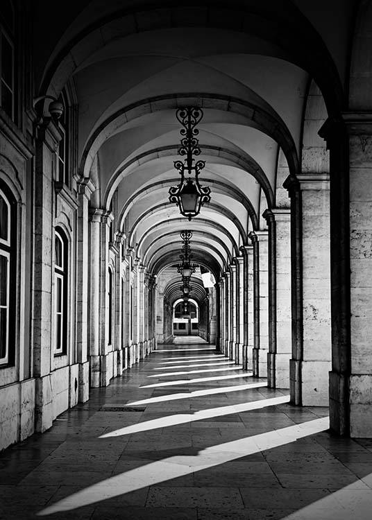 Arched Corridor Poster / Black & white at Desenio AB (2564)