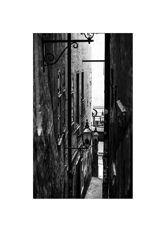 Stockholm Alley Poster / Black & white photography at Desenio AB (2872)