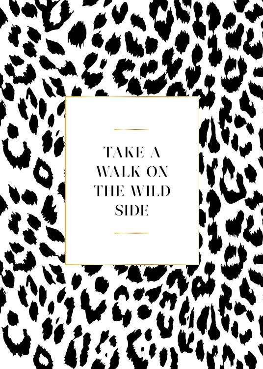 – Text print with a quote inside a white square with a background with leopard print