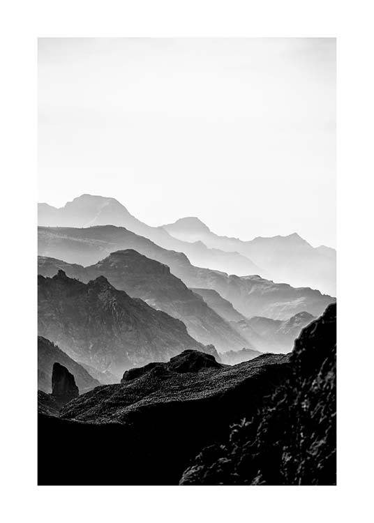 Black Rocky Mountains Poster / Black & white at Desenio AB (3302)