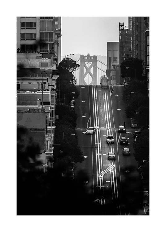 Streets Of San Francisco Poster / Black & white at Desenio AB (3361)
