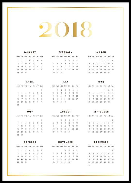 all year calendar 2018