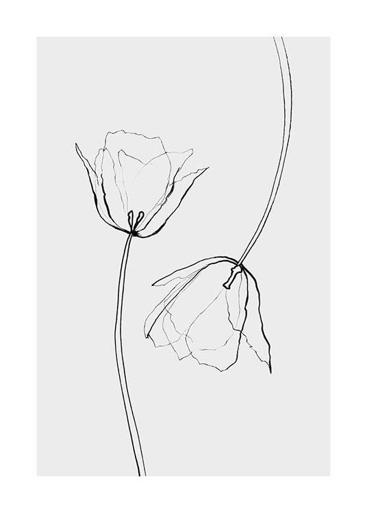 Line Tulips Poster / Black & white at Desenio AB (3601)