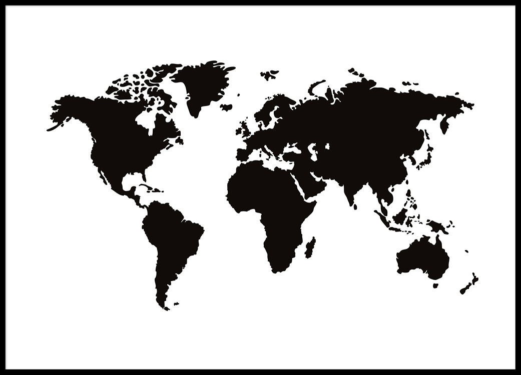 World Map Poster Black And White Posters With Maps