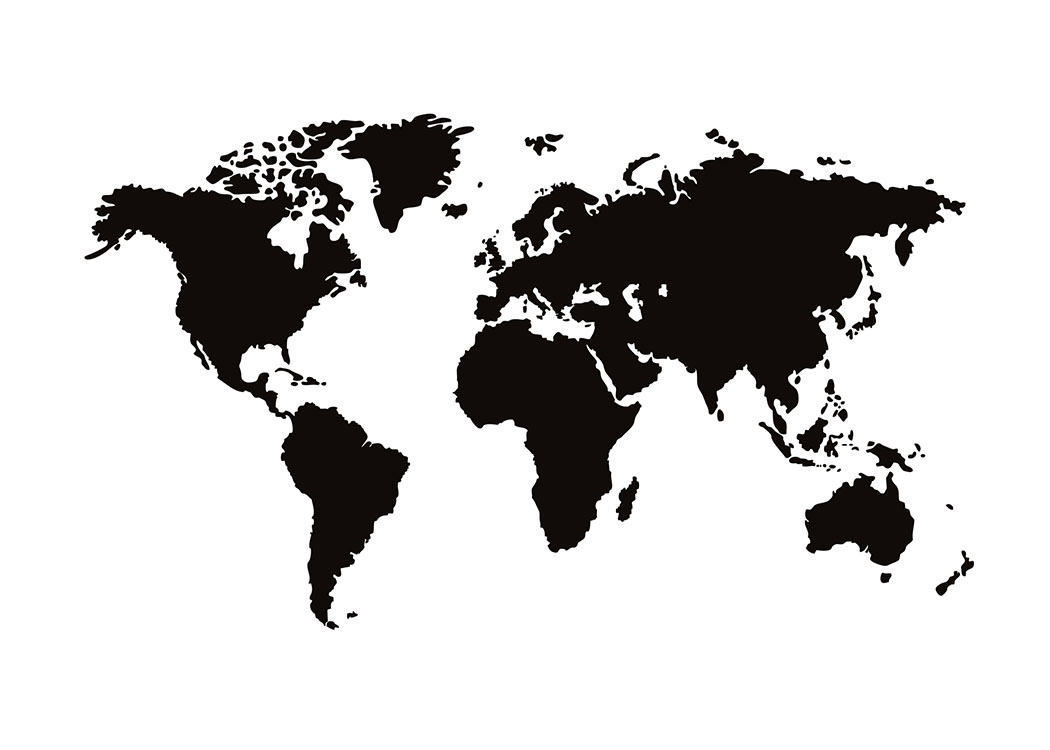 World map poster black and white | Posters with maps