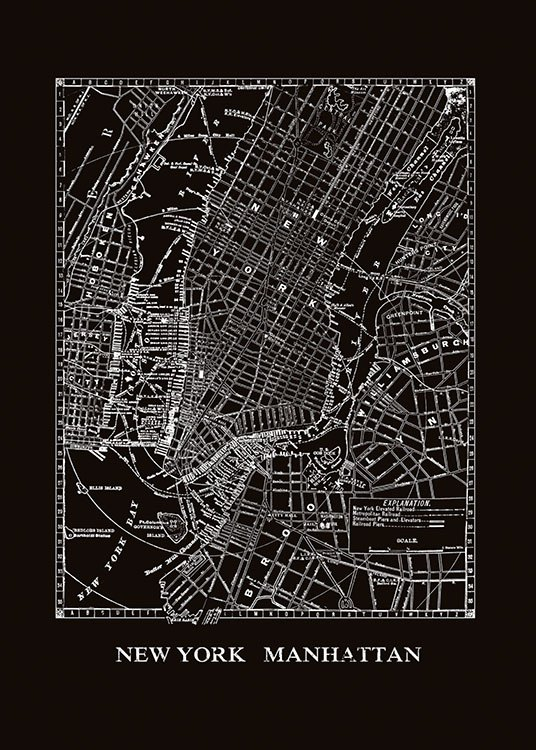 Poster With Map Of New York Manhattan