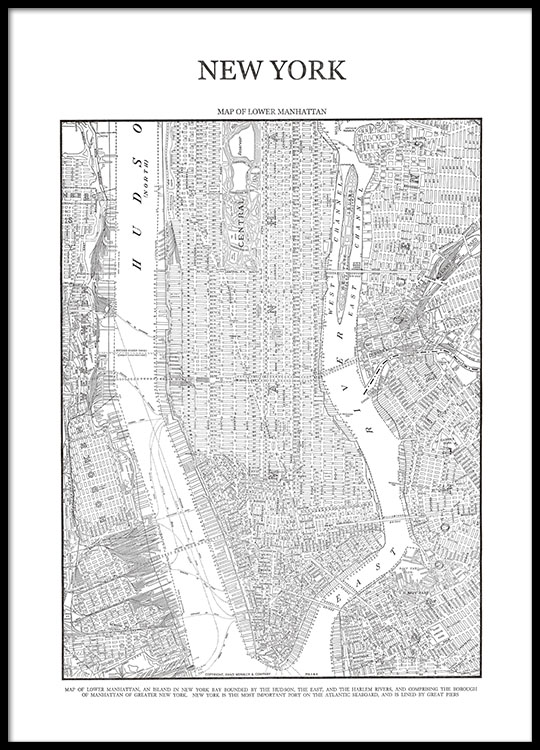 new york map poster posters with a map of manhattan. Black Bedroom Furniture Sets. Home Design Ideas