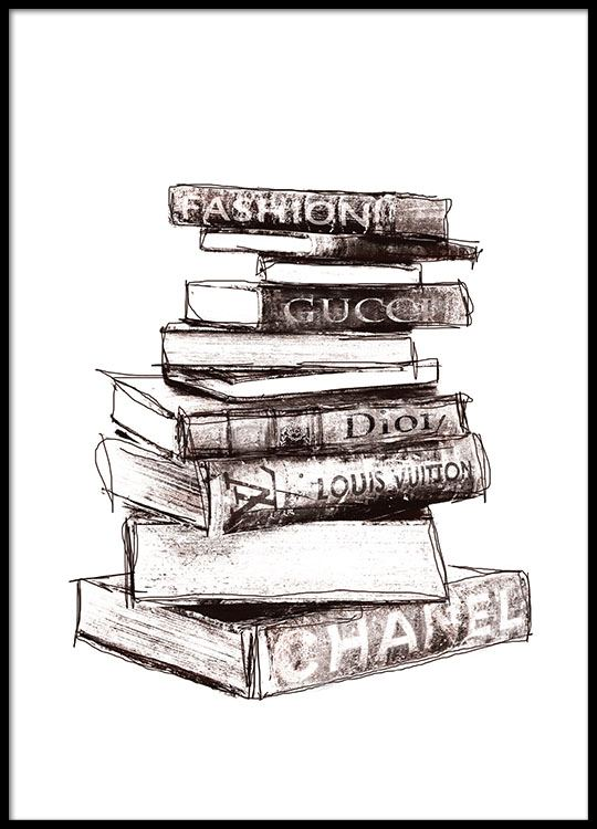 Posters and prints with books from fashion houses gucci prada and chanel