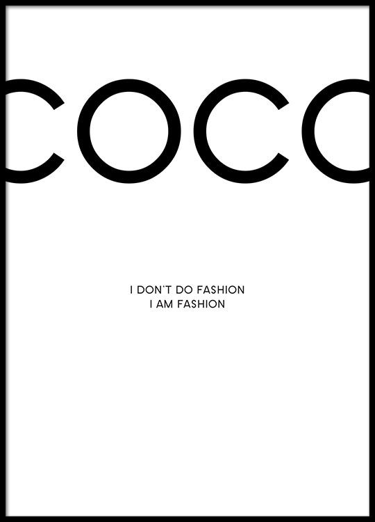 charming Coco Chanel Wall Art Part - 8: Print with Chanel. Poster with citations from Coco Chanel online