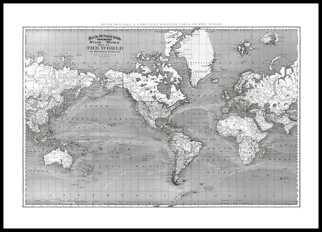 Poster with a world map in black and white poster with a map horizontal print with a black and white world map buy for world maps online gumiabroncs Choice Image