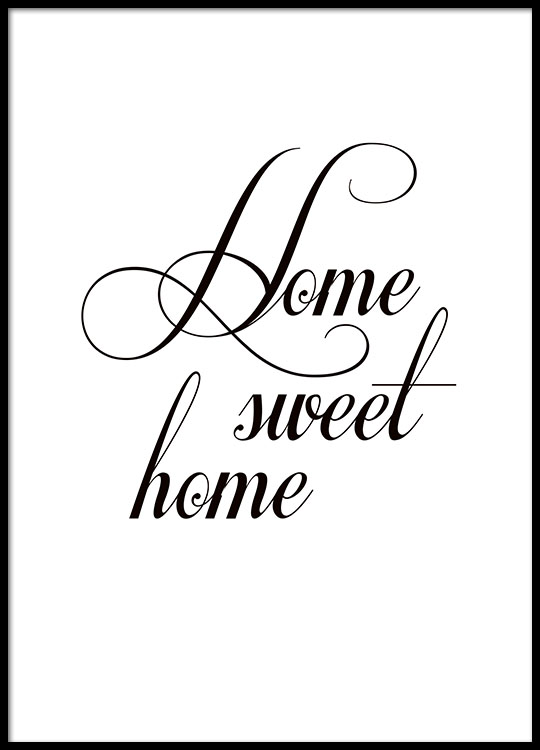 Poster, 'home sweet home'. Typography print 21x30cm