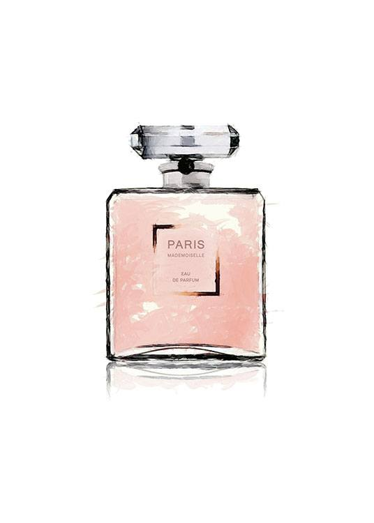 – Pink watercolor illustration of a perfume bottle with the word PARIS