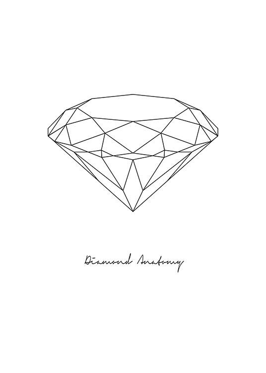 Poster with diamond | Stylish black and white posters with diamonds ...