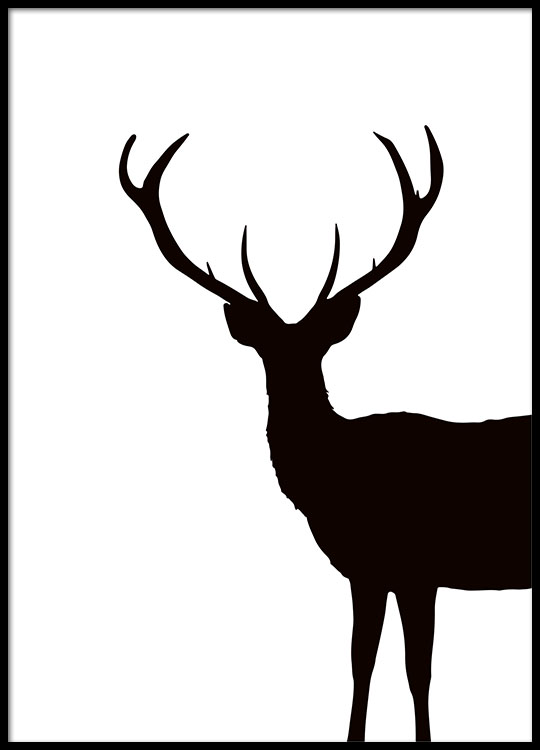 Black and white prints with reindeer and deer stylish black and white poster