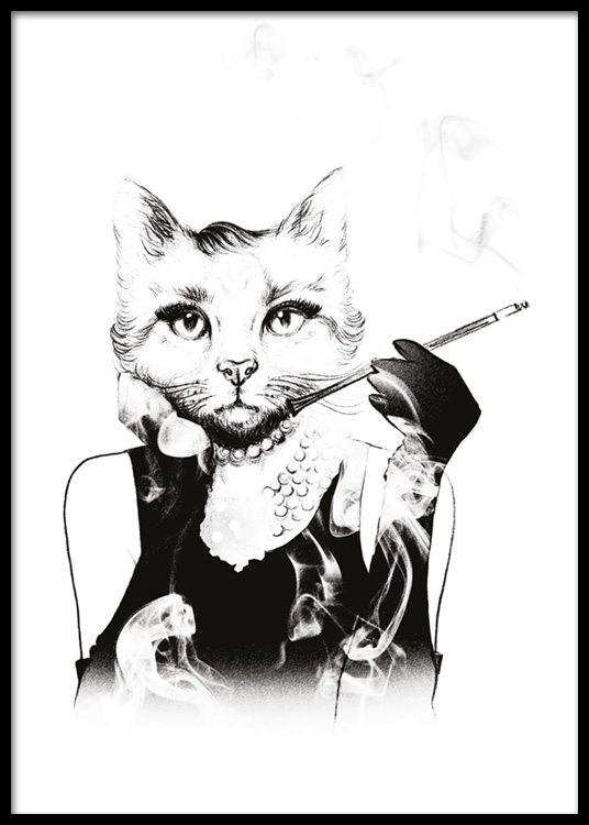 vintage illustration hepburn kitty black and white posters. Black Bedroom Furniture Sets. Home Design Ideas