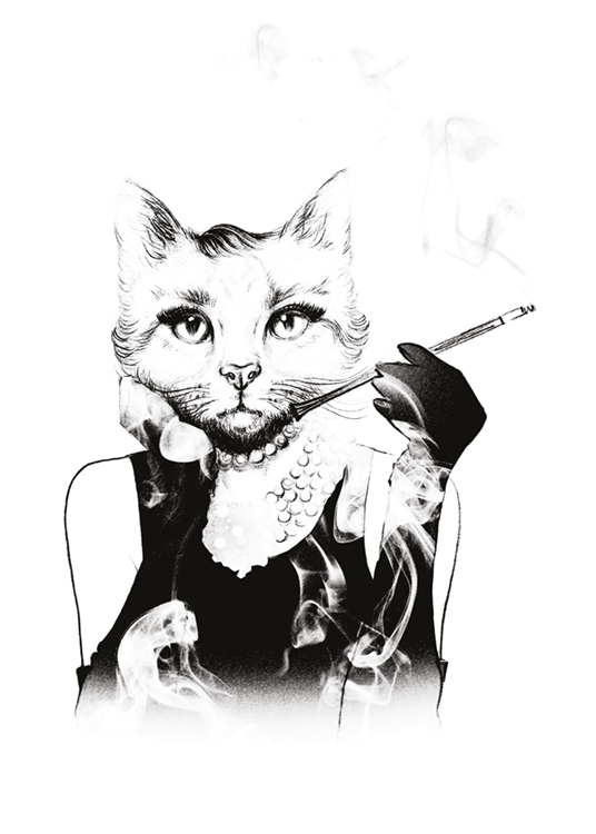 Hepburn Kitty, Poster / Black & white at Desenio AB (7720)