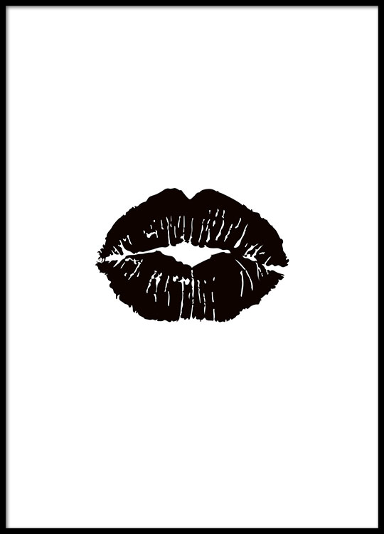 Print with lips in black cheap prints online
