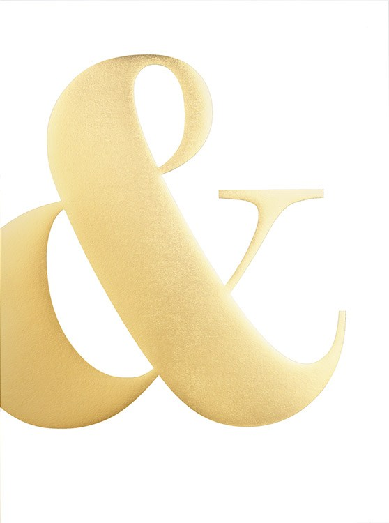– Gold and white typography poster with a golden ampersand on a white background