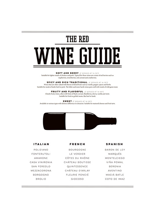 Red Wine Guide, Poster / Black & white at Desenio AB (7802)