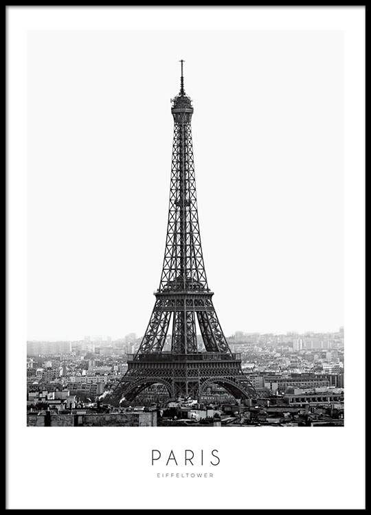 black and white poster with eiffel tower paris print. Black Bedroom Furniture Sets. Home Design Ideas